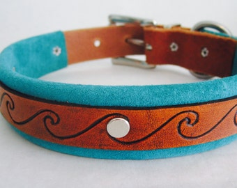 Handmade Leather Dog Collar with Hand-Tooled Wave Pattern and Suede Lining
