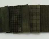 Khaki Drab Hand Dyed Wool Bundle for Rug Hooking and Applique