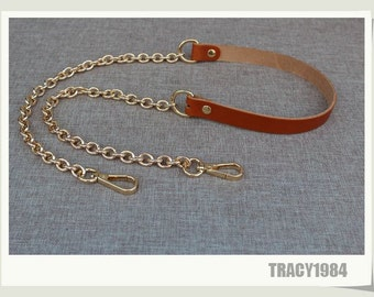 Brown Leather Gold Chain Strap for Satchel Purse Bag