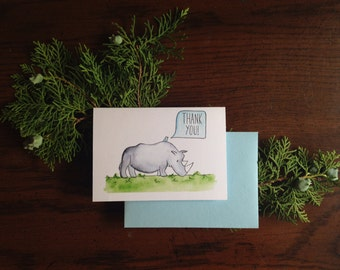 Rhino and Little Bird Thank You Card