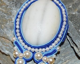 Soutache wrapped cabochon pendant.