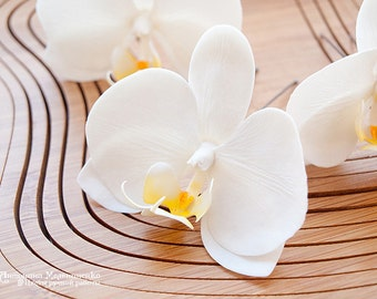 Hair pins Orchids White - Polymer Clay Flowers - Wedding Accessories