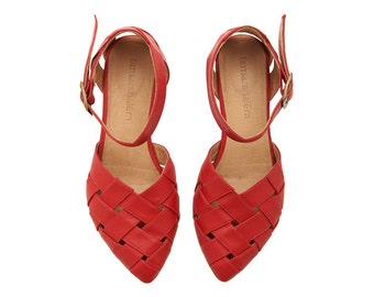 Red Leather handmade flat Sandals / Sophie super comfertable sandals  by Tamar Shalem