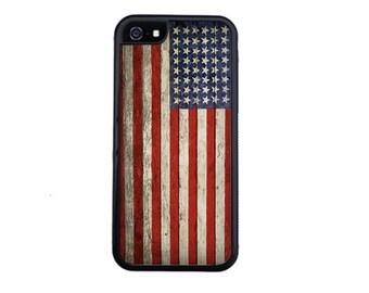 Vintage American Flag Case Design For iPhone 4/4s, 5/5s, 5c, 6/6s, 6/6s Plus, 7 or 7 Plus.