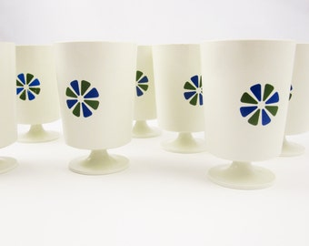 Seven Footed 'Accalac' Serving Cups - Designed by David Douglas - Navy Blue and Olive Green Asterisk - Sundaes - Drinks - Desserts - Mystery