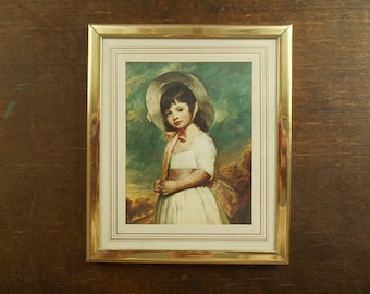 Vintage Wall hanging Victorian style wall picture featuring a girl Framed wall hanging Retro picture