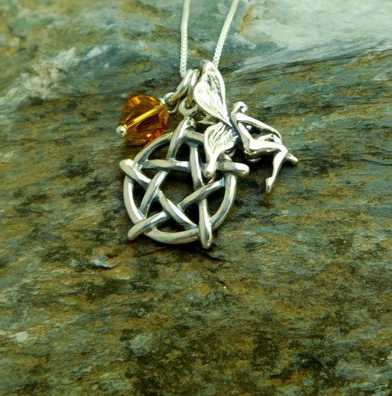 Sterling silver pentagram necklace, birthstone necklace, fairy necklace, faerie jewelry, Wicca jewelry