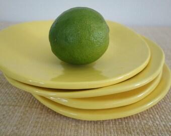 Salad or Tapas Plates - Set of Four - Yellow Pottery