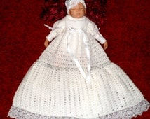 CHRISTENING GOWN PATTERN Knitting and Crochet pattern for a Christening Gown.