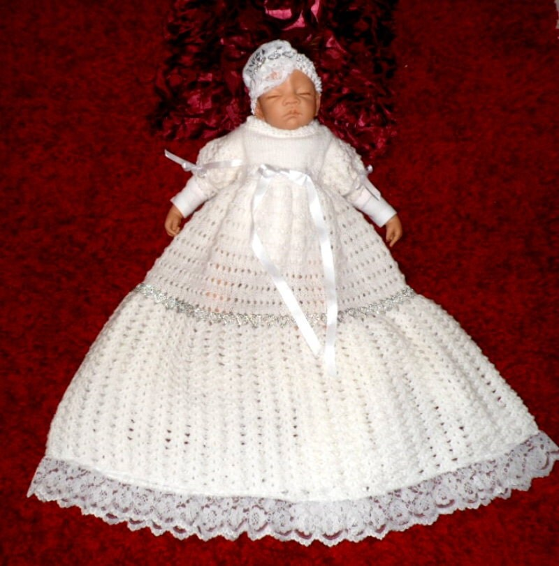 Christening Gown Knitting Patterns : CHRISTENING GOWN PATTERN Knitting and Crochet pattern for a