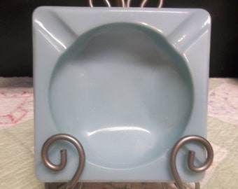 SALE! was 5.00 Vintage Blue Opaque Glass Ashtray, S