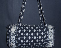 Vintage Pierre Deux Souleiado La Provencal Black and White Print Quilted Small Duffle Barrel Bag Purse