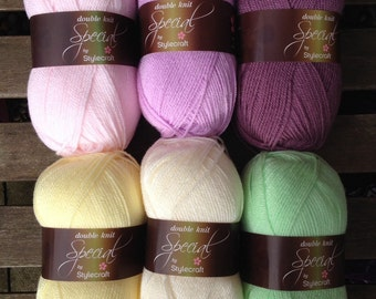 Stylecraft Special DK spring blanket colour pack in green and lilac 6x100g balls of yarn 'Crocus'