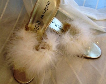 Vintage Pair of Gold Lame Boudoir Mules with White Feathers, New Old Stock, Andrew Geller, Italy, ca 1960s
