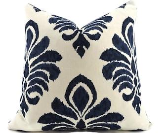 Navy Blue Ikat Decorative Pillow Cover, 22x22, navy ikat throw pillow cover, accent pillow, Moroccan Pillow