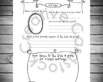 Unique Wedding Guest Book Page- Customized Digital Copy