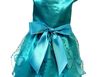 Dog Dress,  Dog Clothing, Dog Wedding Dress, Pet Clothing, Teal Satin with Butterfly Skirt