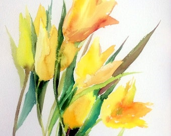 Pastel colors tulip, soft yellow light pink original watercolor painting, 22 x 13.5 in
