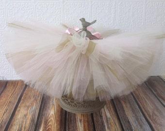 Gold, Ivory and Pale Pink Tutu || Short & Sweet Style || baby girl tutu skirt || newborn tutu || birthday tutu || photo prop || nb-4T
