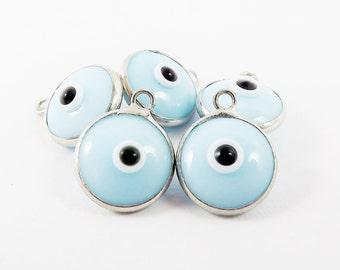 5 Opaque Light Blue Evil Eye Nazar Artisan Glass Bead Charms - Silver Plated Brass Bezel - GCM112