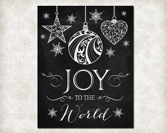 Joy to the World printable decor Printable Christmas chalkboard Christmas wall art  Christmas art Christmas decorations christmas quote