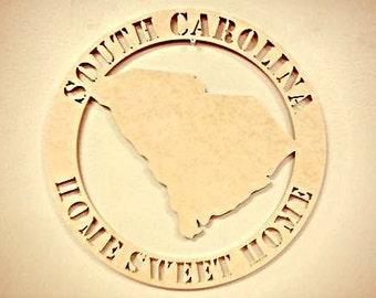 Wooden Framed Monogram, Home State, Art South Carolina Home Sweet Home