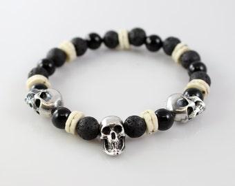 Handmade Sterling Silver Skull Bead Bracelet