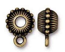 5 Pc Bail Bead Beaded Crown 11x15mm Oxidized Brass Finish Tierracast Bails bail finding antique brass - P5759BO