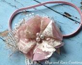 Blush Pink & Dusty Rose Vintage Bridal Hair Flower, Girls Headband, Burlap Lace Flower Headband, Baby's Headband, Shabby Chic Weddings, Bows