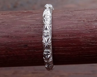 Thin Art Deco Style Starburst Carved and Milgrain Engraved Wedding Band Ring 18k  Solid White Gold Vintage / Antique Style
