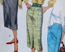 Vintage 1950s Simplicity 2200  Teen Age Set of One Yard Skirts, Waist 25 Hip 34,** Epsteam