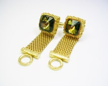 Mesh Wrap Cufflinks / DANTE / Volcano / Rivoli Glass / Shirt Accessory / Men Wedding Jewelry / Groom Best Man / Formal Wear / Cuff Links