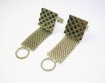 Mesh Wrap Cufflinks / silver tone / pattern Design / Shirt Accessory / Men Wedding Jewelry / Formal Wear / Cuff Links / Men's Bling