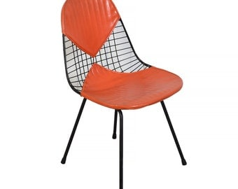 Eames Wire Chair Herman Miller Venice, Ca. Original Orange Bikini Seat Cover