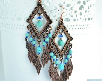 Boho earrings - Trible earrings - Long copper earrings
