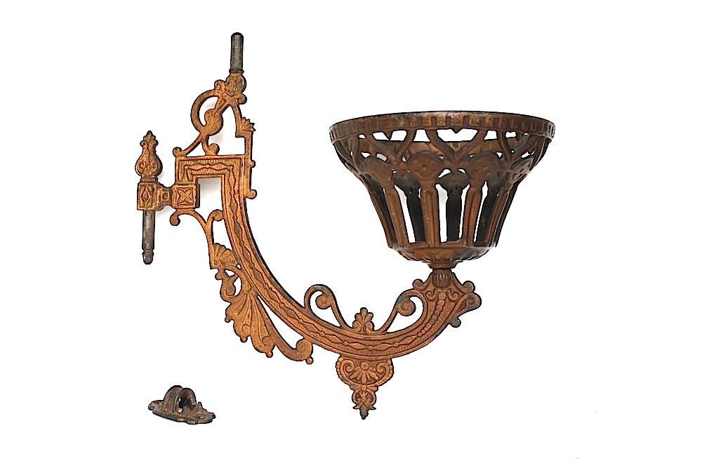 Victorian wall sconce oil lamp holder by happyfortunevintage for Wooden kerosene lamp holder