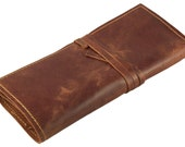 Rustic Genuine Leather Pencil Roll - Pen and Pencil Case by Rustic Ridge Leather - Saddle Brown - Vingage Leather Style - Genuine Leather