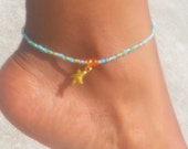 Starfish, Beaded Anklet, Minimalist Anklet, 11/0 Seed Beads, Minimalist Anklet, Body Jewelry, Women's Jewlery, Bridesmaids Gift