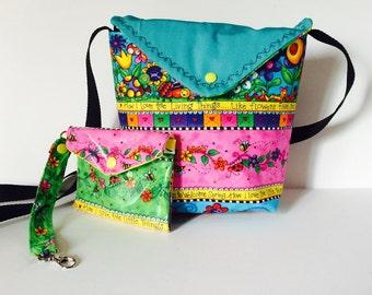 "Handmade Cross Body Handbag ""How I Love"" Inspirations, Unique Cross body tote, Matching coin purse, Colorful purse"
