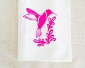 Hummingbird Print, Tea Towel, Kitchen Towels, Hostess Gift, Dish Towels, Screenprint, Nature Prints, Screen Print, Neon, Kitchen Decor
