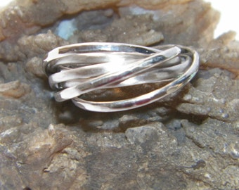 Hammered Hand Made.925 Sterling Silver Interlocking Seven Band Rolling Ring -Custom Size