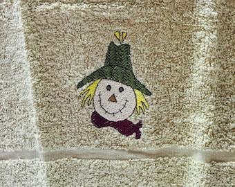 Fall wash cloth-Scarecrow wash cloth-tan wash cloth-wash cloth with scarecrow