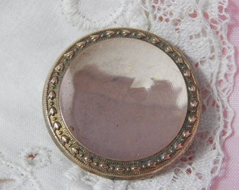 Antique Wood Back Button - 18th Century or Early 19th Century with Mirror Like Brass Top