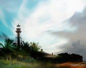 Lighthouse on Beach with Bold Color and Movement