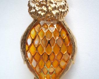 Vintage Unsigned Goldtone Filigree Owl Brooch/Pin