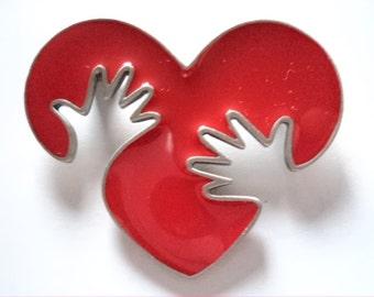 Vintage Signed JJ  Red Enamel Hands on Heart Brooch/Pin