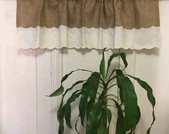 "Natural Burlap French Country Valance/Curtain With 5"" Scalloped Trim Hem"