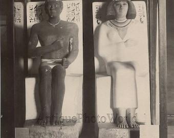 Rahotep and Nofret statues antique albumen photo Egypt J. P. Sebah