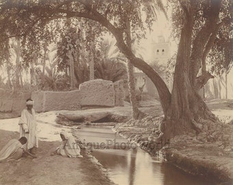 Arab children playing in sand by canal antique art photo Egypt