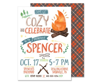 Bonfire Birthday Invitation - DIGITAL invites - fall autumn s'more birthday party pumpkin birthday plaid invite pdf file printable print